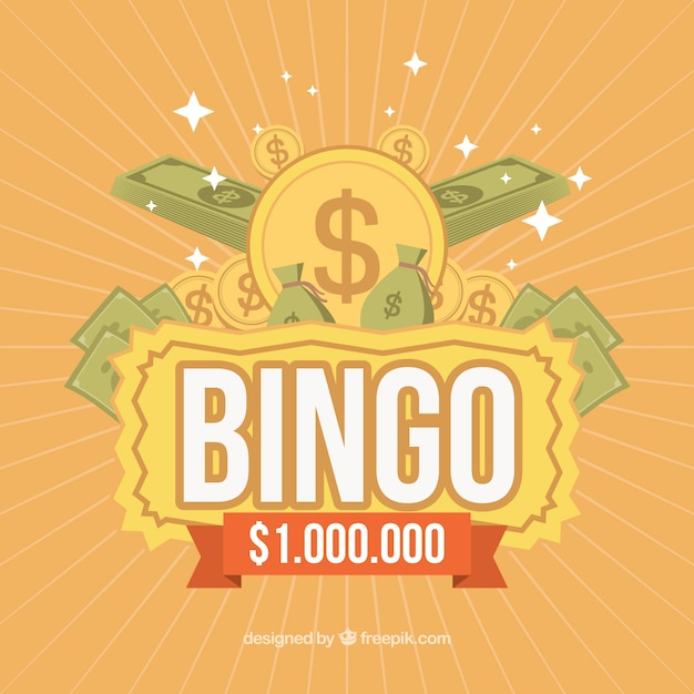 Retro bingo background with banknotes and coins Free Vector