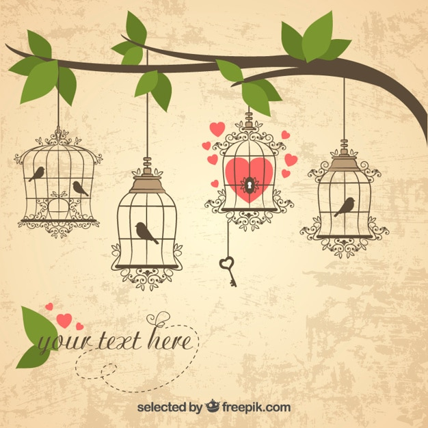 Retro bird cages hanging on a branch Free Vector