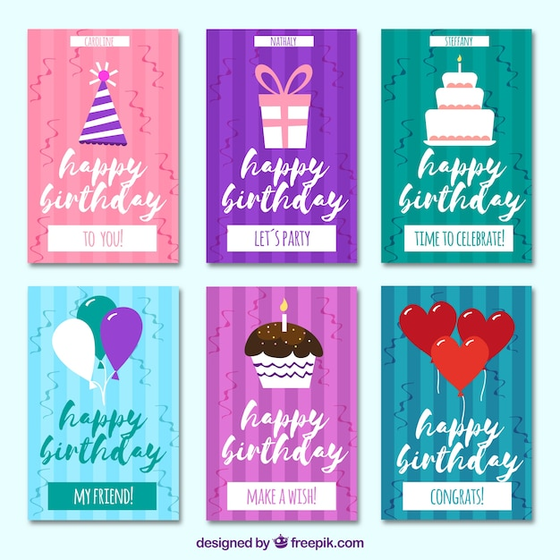 Retro birthday cards set vector free download retro birthday cards set free vector bookmarktalkfo Gallery