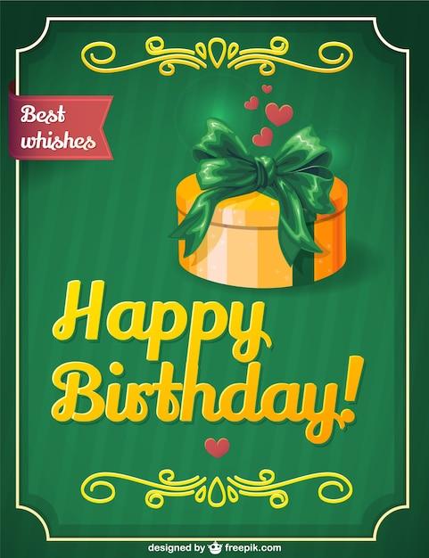Retro Birthday Gift Card Design Vector