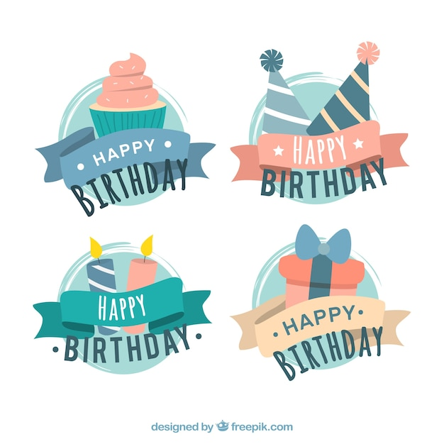 Retro birthday ribbons set Free Vector