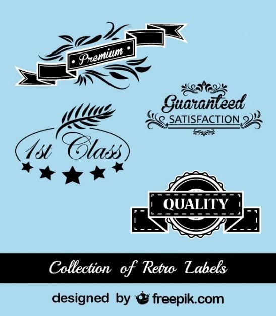 Retro Black and Blue Stickers Set