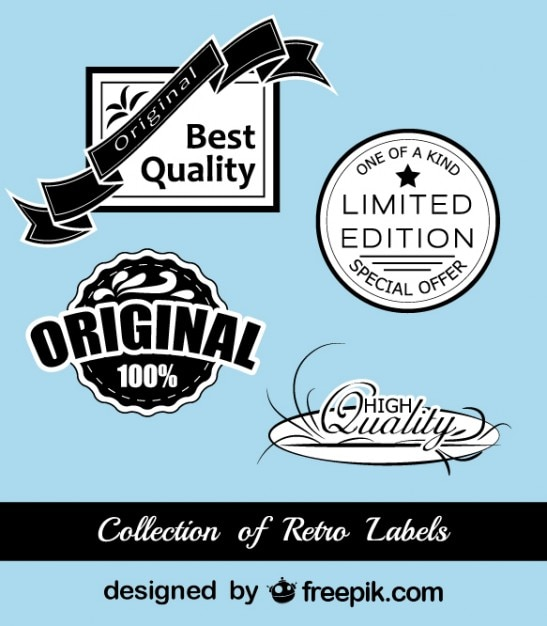Retro black and blue stickers collection Premium Vector