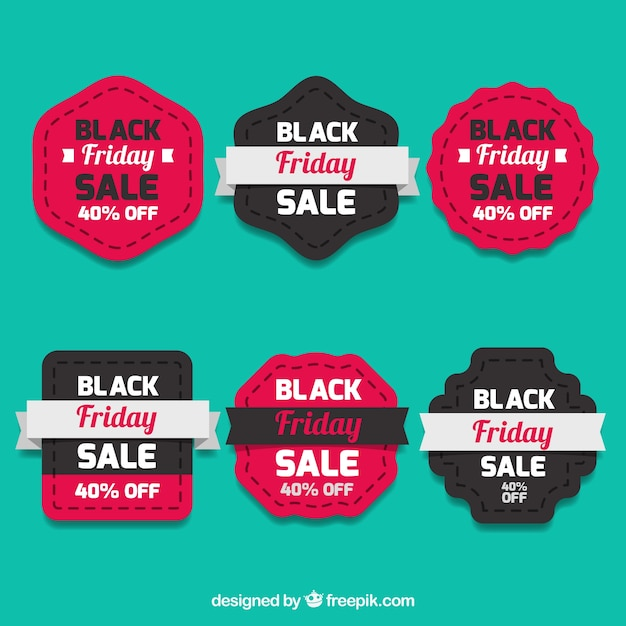 Retro black friday stickers set