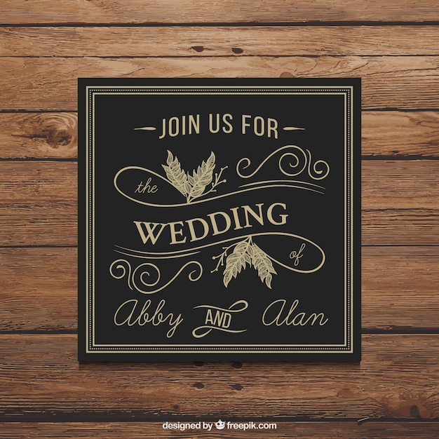 Retro black wedding invitation vector free download retro black wedding invitation free vector stopboris Images