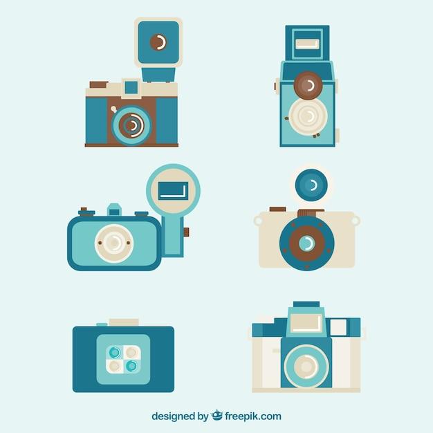Retro blue cameras collection
