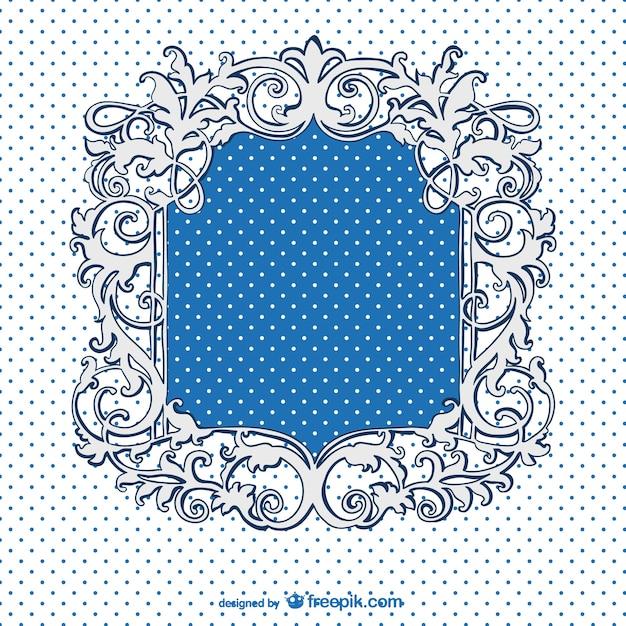 Retro blue frame with dots