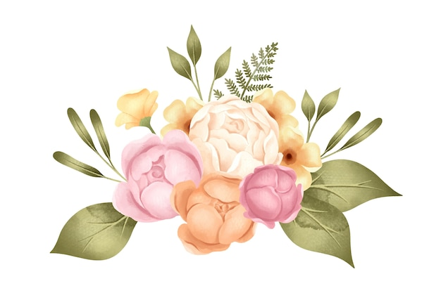 Retro bouquet of peony flowers Free Vector