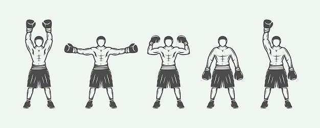 Retro boxers set Premium Vector