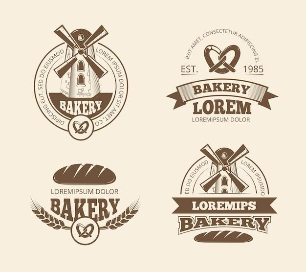 Retro bread bakery old style logos Premium Vector
