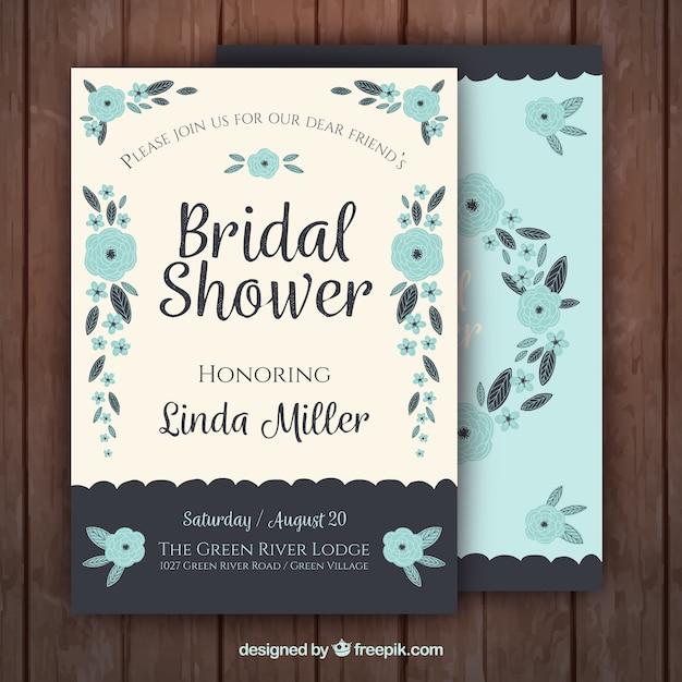 Retro bridal shower invitation with blue flowers