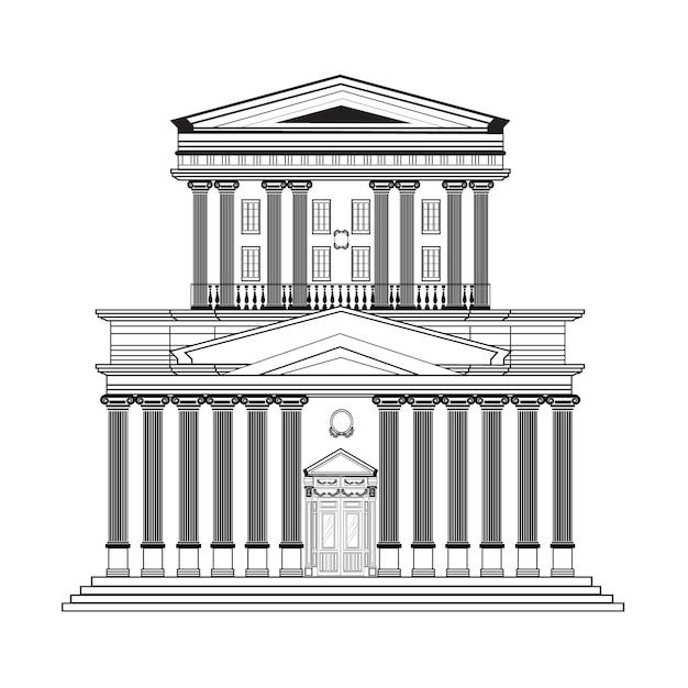 Retro building design Free Vector