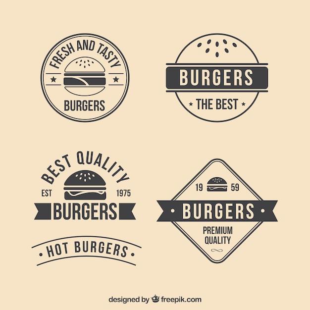 Retro burgers badges Free Vector