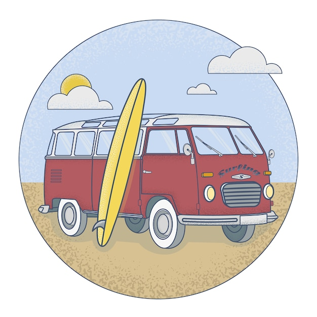Retro bus with surfboard standing on the beach Premium Vector