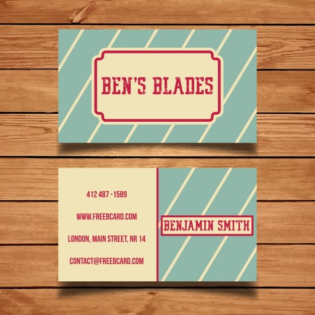 Retro Business Card Template Vector Free Download