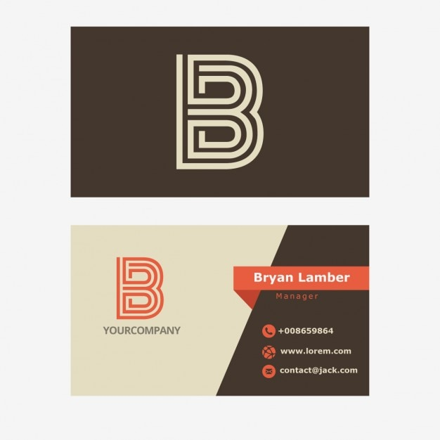 Retro Business Card With B Letter Logo Vector : Free Download