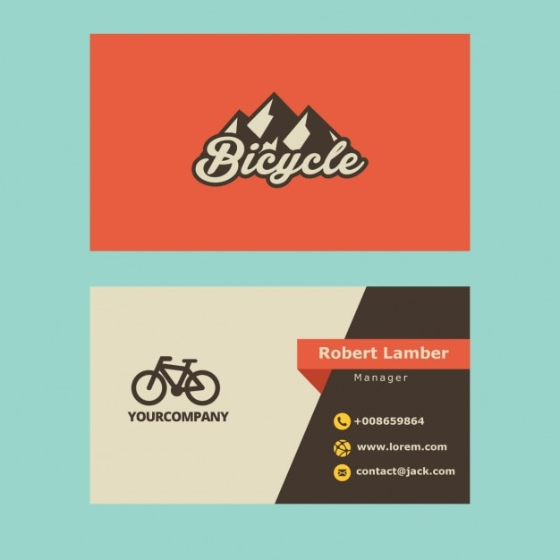 retro business card with bicycle logo free vector