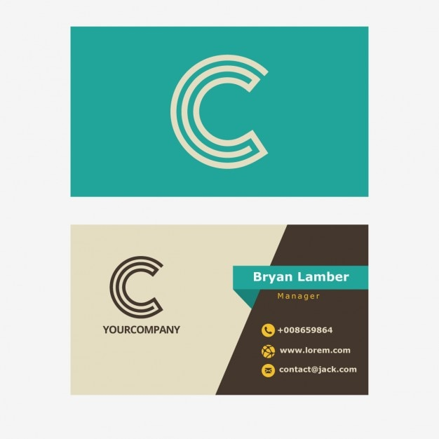 Retro business card with c letter Free Vector