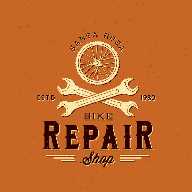 レトロな自転車修理ラベルまたはロゴのテンプレート Premiumベクター