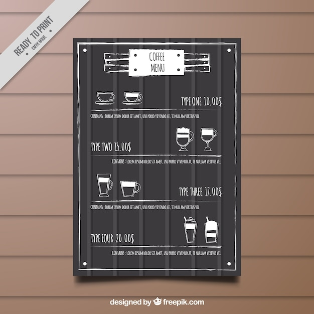 Retro Cafe Menu Template With Sketches Vector  Free Download