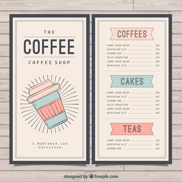 Retro cafe menu template vector free download for Cafe menu design template free download