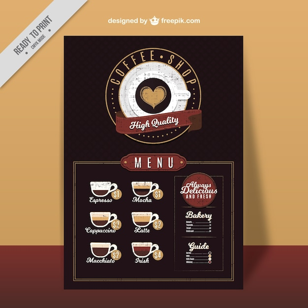 Retro cafe menu with types of coffee Free Vector