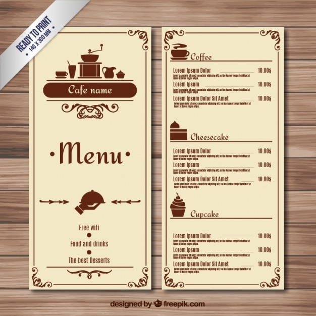 Retro Cafe Menu Vector  Free Download