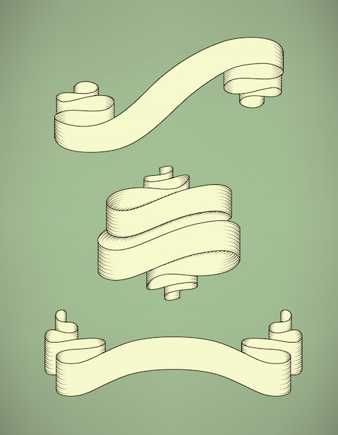 Retro calligraphic decorative ribbon set Free Vector