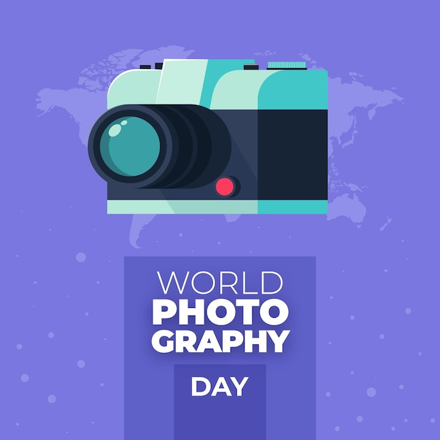 Retro camera flat design world photography day Free Vector