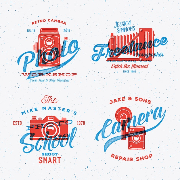 Retro camera photography labels or logos with vintage typography shabby textures. Premium Vector