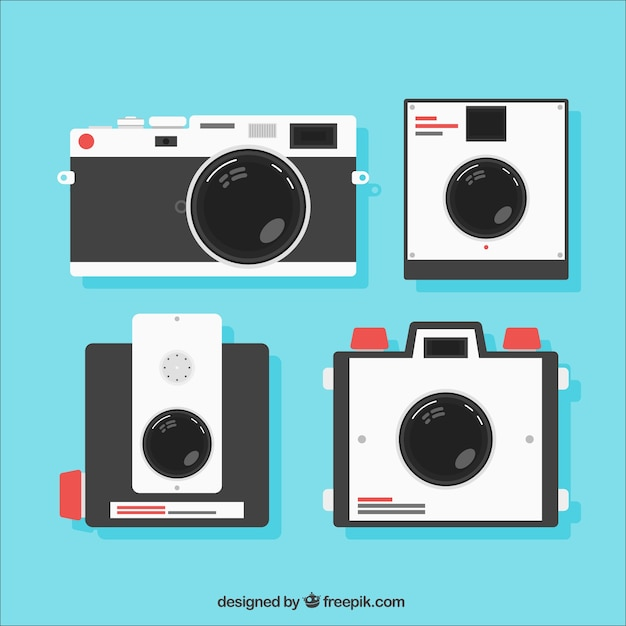 Retro cameras in flat design Free Vector