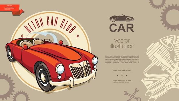 Retro car club background Free Vector