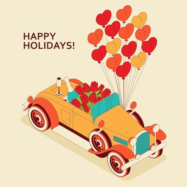Ретро-автомобиль-кабриолет с большим букетом тюльпанов, шампанским и сердечками. Premium векторы