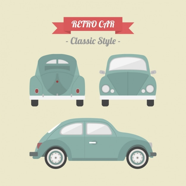 Retro car design Free Vector