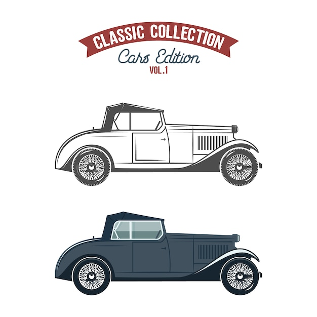 Retro car icons, flat color and monochrome style. Premium Vector