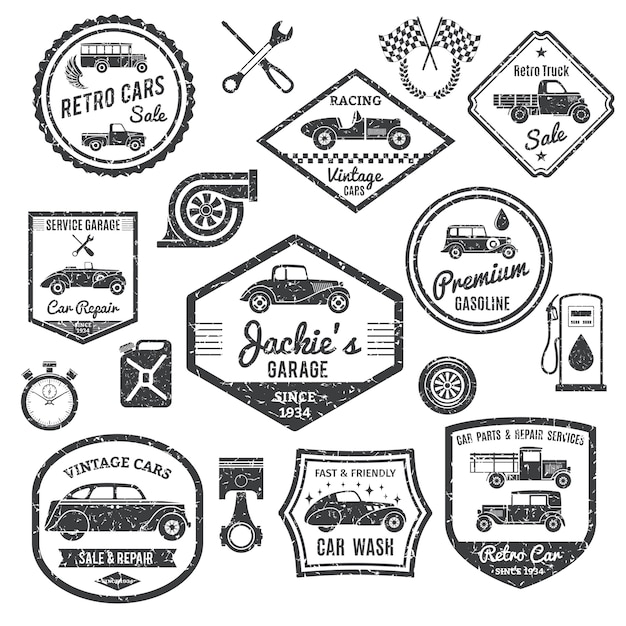 Retro car label black set Free Vector