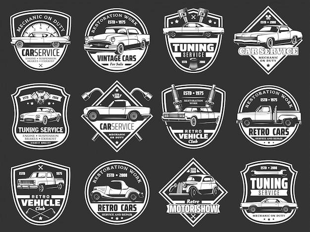 レトロカー、ヴィンテージ自動車、エンジンスペアパーツ Premiumベクター