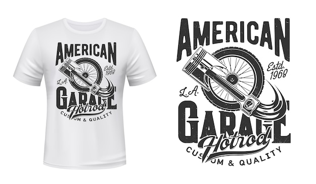 Retro car wheel and engine piston t-shirt  print. old vehicle spoked or suspension wheel, car spare part illustration and typography. american hot rod garage station clothing print Premium Vector