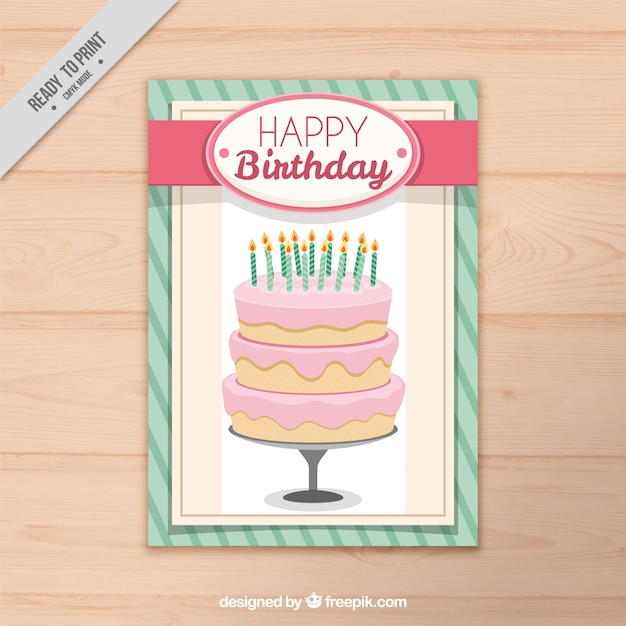 Retro card with birthday cake