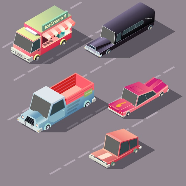 Retro cars moving on highway Free Vector