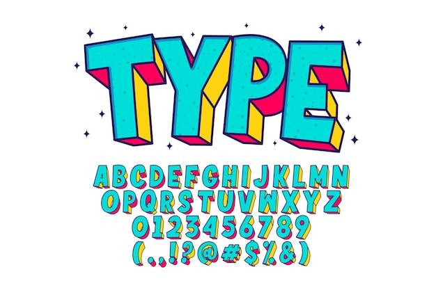 레트로 만화 알파벳, 멋진 글꼴 스타일 무료 벡터
