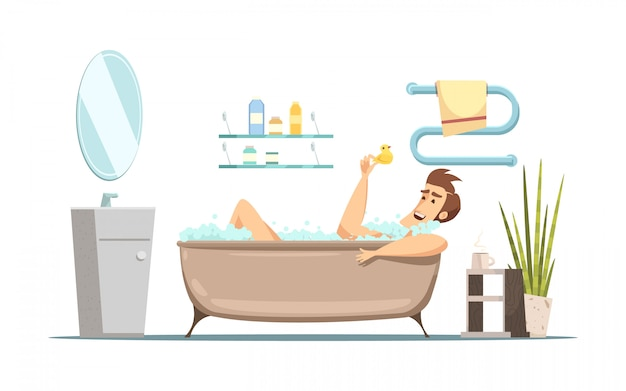Retro cartoon composition in hygiene theme with man taking bath in bathroom Free Vector