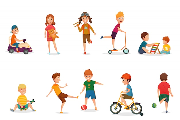 Retro cartoon kids playing icon set Free Vector