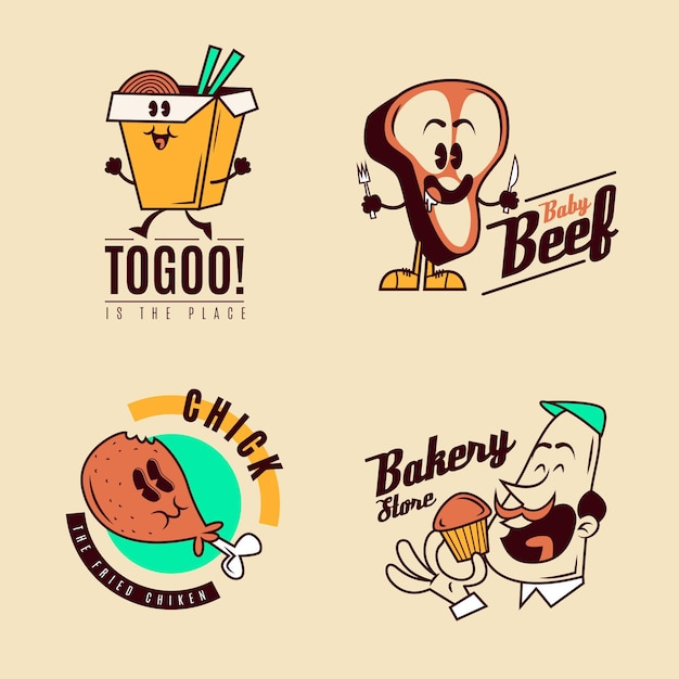 Retro cartoon restaurant logo set Free Vector
