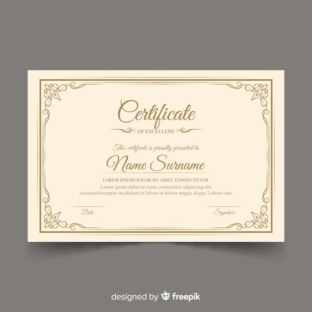Retro certificate template design Free Vector