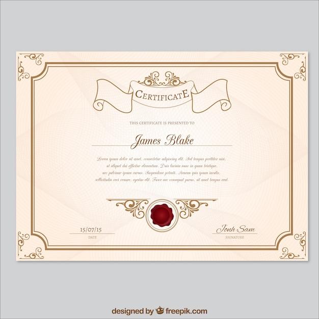 Retro certificate template Premium Vector