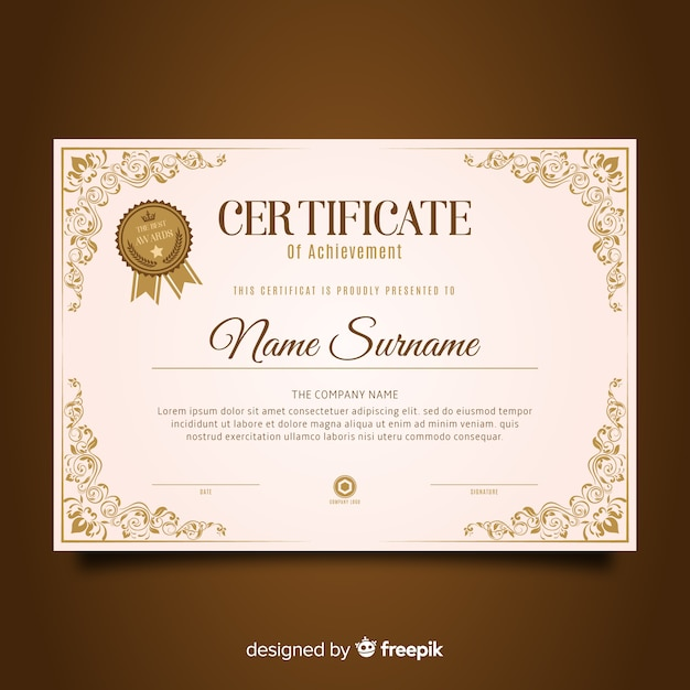Retro certificate template Free Vector
