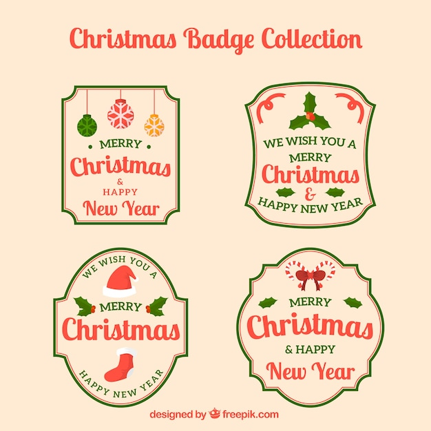 Retro christmas badges pack