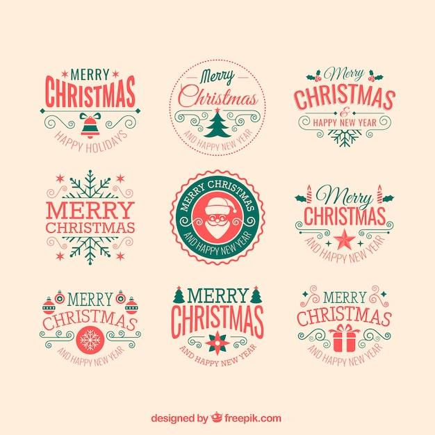 Retro christmas badges Vector | Free Download