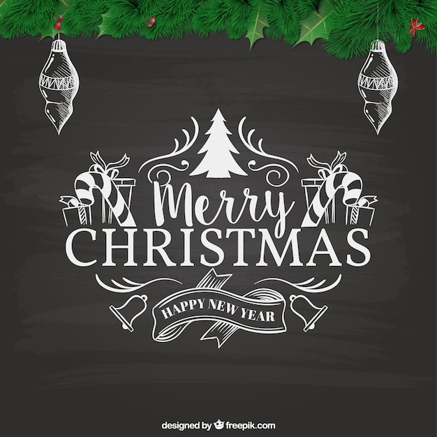 Retro Christmas Card In Blackboard Style Free Vector